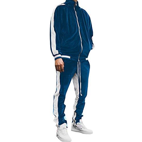 XmklovEyi Herren Joggingsuit Aus Baumwolle Freizeitanzug Trainingsanzug Hausanzug MäNner Kontrastfarbe Samt Revers Casual Style Sportswear Anzug