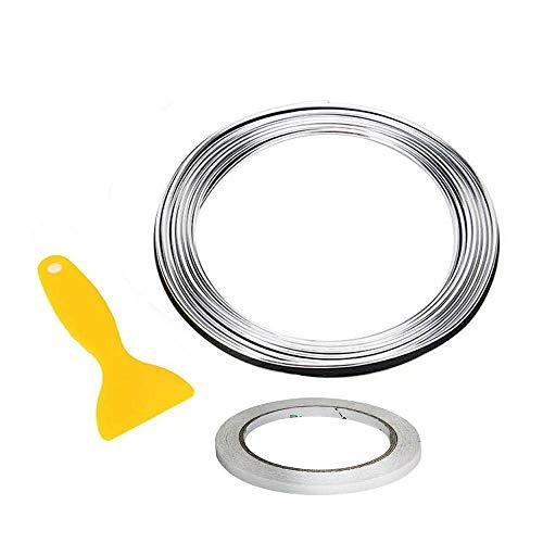 Auto Zierleiste Chrom Zierleisten Trim - Automan flexiblem Innenraum Dekorative Streifen Line DIY (5M, Silber)