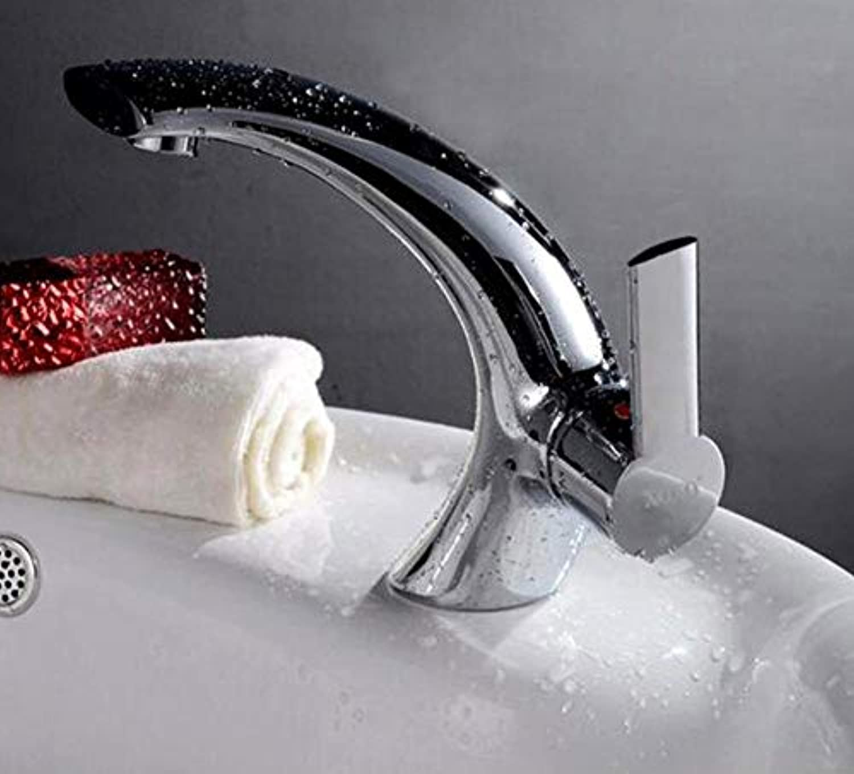 CZOOR Neu Becken Wasserhahn, Hot & Cold Mixer Bad Waschtischarmatur Messing silbrig Farbe Wasserhahn Kran