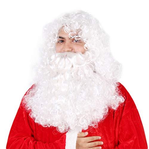 NUOBESTY barba e parrucca di Babbo Natale set 1pc forniture per feste lunghe ricci barba finta natale babbo natale barba costume accessori copricapo cosplay prop per spettacoli di natale