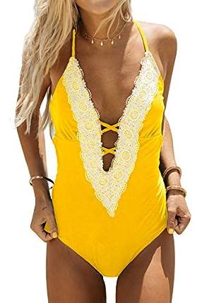 CUPSHE Bañador para Mujer Cuello en V Profundo Encaje Cordones Cruzados Traje de Baño de Una Pieza, Amarillo, XS