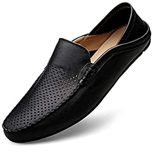 [サニー ホリデイ] メンズ ドライビングシューズ 軽量 スリッポンシューズ 2種履き方 クラシック 職場用 モカシン 靴 (JP270(27.0CM), 通気 ブラック)
