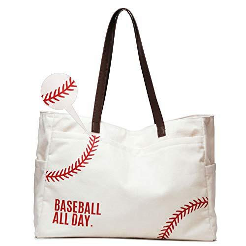 Woman Baseball Tote Handbag Large Oversize Casual Canvas Sports Mom Beach Travel Bag (Vinyl seams)