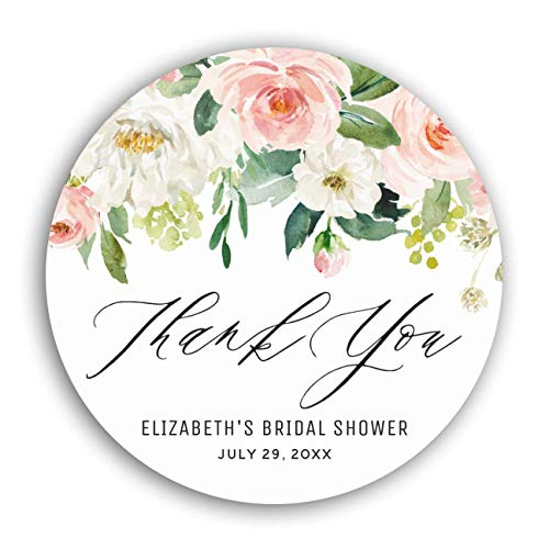 """Personalized Customized Labels Tags,Customizable Stickers Romantic Watercolor Pink Peach Florals Thank You Classic Round Sticker for Business Custom Made Stickers, 100 Stickers2X2"""""""