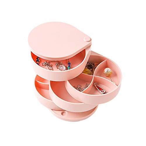 Yodio Caja de almacenamiento giratoria para joyas, caja de joyería, organizador de 5 pisos para pendientes, pulseras, pulseras y anillos de almacenamiento (rojo)