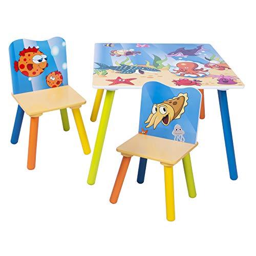 eSituro Mesa para Niños con 2 Sillas Grupo de Asientos y Escritorio para Niños Mesa Infantile con Silla para Bebé Mueble de Juegos con Patrón de Dibujos Animados SCTS0003