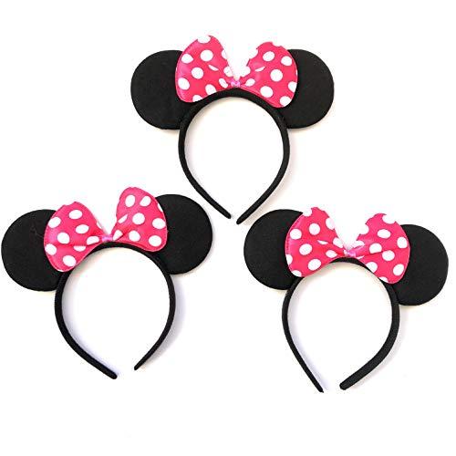 HC Enterprise Felpa Diadema Disfraz Black Mouse,Accesorio de Disfraz. 3 Unidades