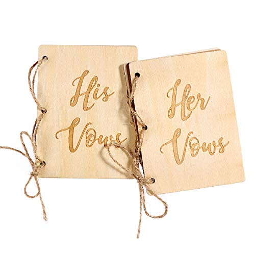 Amosfun 2Pcs Wedding Vows Book His and Her Vow Books Brown Kraft Paper Booklets for Wedding Engagement Bridal Shower Gifts