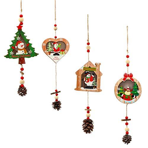 CLISPEED Enfeites de Madeira de Natal Natal Led Enfeites Pendurados Cone de Pinho Decoração de Grinalda Enfeites de Madeira Não Acabados Árvore de Natal Iluminada Etiquetas Penduradas para