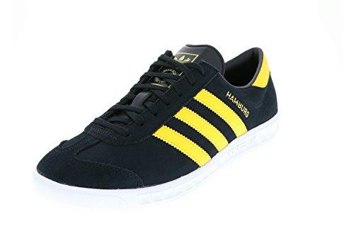 adidas Unisex-Erwachsene Hamburg Sneakers Schwarz (Core Black/EQT Yellow/Footwear White) 37 1/3 EU