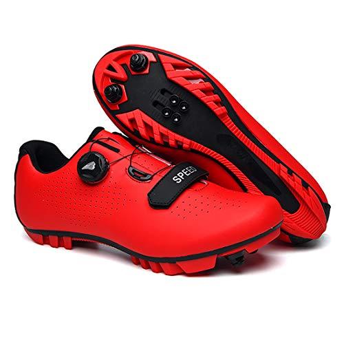 Zapatillas De Ciclismo, Zapatillas De Bicicleta De Montaña Transpirables Y Resistentes Al Viento para Adultos MTB, Zapatillas De Ciclismo con Plantillas Amortiguadoras (42,Rojo)