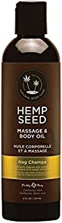 Earthly Body Hemp Seed [Nag Champa] Massage & Body 100% Natural Oil: Size 8 Oz