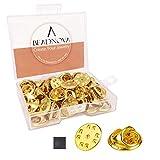 BEADNOVA 50PCS Butterfly Clutch Metal Pin Backs Pin Backings for Lapel Pins Pin Clips (Gold, 50 pcs)