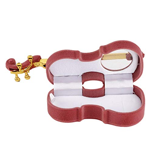 DAUERHAFT Unique Cute Necklace Gift Box, Ring Box, Flannel Jewelry Box Flannel Violin Shaped,Suitable for Displaying and Storaging(Violin Style-Brown Red)
