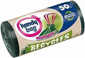 Handy Bag Rouleaux de 10 Sacs Poubelle 50 L, Poignées Coulissantes, Recyclés, Résistant, Anti-Fuites, 68 x 73 cm, Vert...