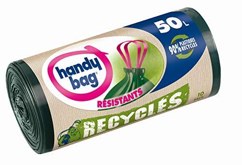 Handy Bag Rouleaux de 10 Sacs Poubelle 50 L, Poignées Coulissantes, Recyclés, Résistant, Anti-Fuites, 68 x 73 cm, Vert Foncé, Opaque