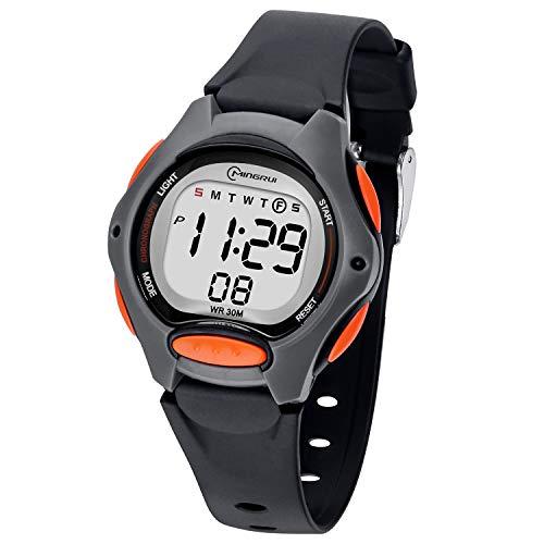 Reloj Digital para Niños Niña,Chicos Chicas 50M(5ATM) Impermeabl Deportes al Aire Libre LED Multifuncionales Relojes de Pulsera con Alarma para Niños,Niñas (Negro-8207)