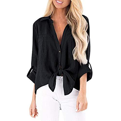 Elegante V Ausschnitt Linen Hemd Blusen Shirt Top Oberteil Damen Frauen Lockere Lange Ärmel Schicke Asymetrisches Sweatshirts Pullover