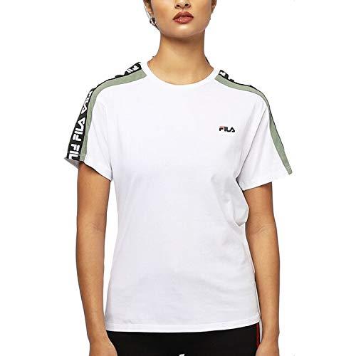 Fila T-Shirt Tandy Donna Bianco Girocollo Con Bande e Stampa Con Logo 687686A482 M
