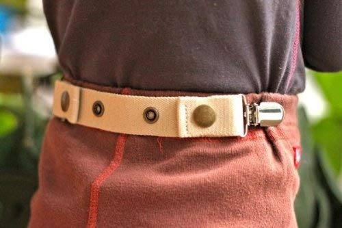 Dapper Snappers Adjustable Toddler Belt with Add-on Clips Included (Beige)