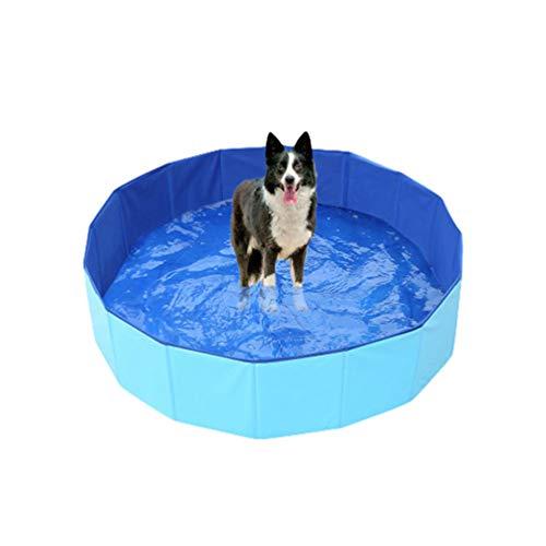 YiiJee Hundepool Schwimmbad Hundeplanschbecken Hundebad Doggy Pool Haustierpool Katzenpool Wasserbad PVC-rutschfest mit Ablassventil Blau 60 * 20CM