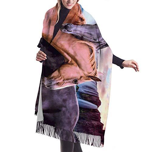 Bufanda larga cálida suave Otoño Invierno Abrigo de primavera Hermosos caballos Chales ligeros y amigables con la piel Bufandas de cachemira adolescentes y adultos