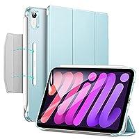 ESR iPad mini6 ケース 2021 三つ折りケース 半透明 スマートケース 留め具付き 三つ折りスタンド オートスリープ/ウェイク対応 Pencil 2のペアリング・充電対応 ライトブルー