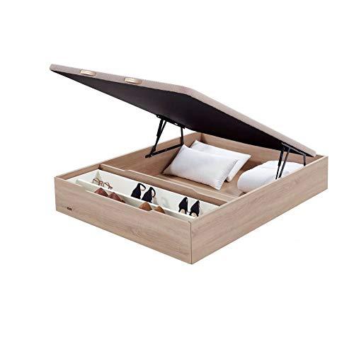 Flex - Canapé Abatible Madera 25 con Zapatero y Tapa con Tejido 3D de Flex - 150x190cm, Natural, No