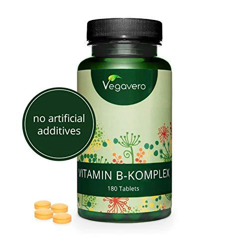 Complejo Vitamina B Vegavero | AHORA SIN ADITIVOS ARTIFICIALES | Con Colina e Inositol | B2 + B5 + Niacina + Piridoxina + Ácido Fólico + B12 | Vitaminas Para el Cansancio | 180 Comprimidos