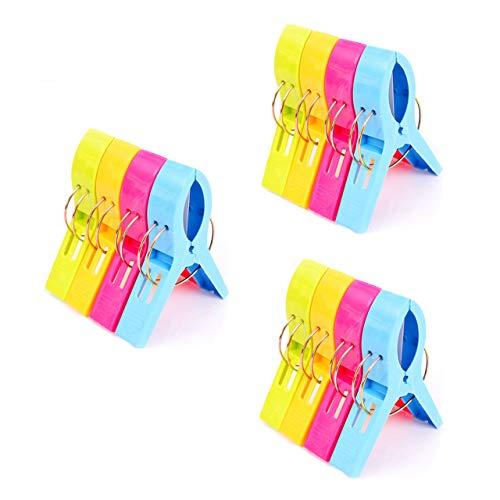 July Miracle Strandtuch Clips, 12pcs große Winddichte Kunststoff Badezimmer Handtuch Clips, Quilt Clamps Wäscheklammern für Pool Stühle, Wäsche, Liegen und Sonnenliegen
