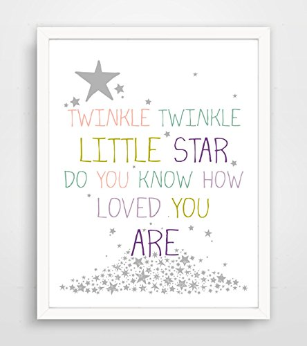 Children's Wall Art / Nursery Decor Twinkle Twinkle Little Star Do You Know How Loved You Are - Purple by Finny and Zook ** FRAME NOT INCLUDED
