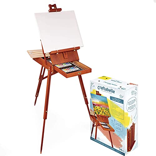 French Style Wooden Art Easel, Easel with Artist Drawer Palette Premium Beechwood - Adjustable Wood Tripod Easel Stand for Painting Sketching Display