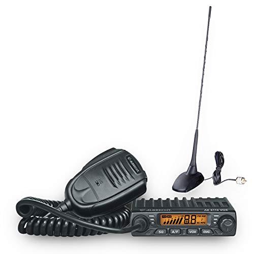 Albrecht AE 6110 VOX CB-Funkgerät + CBM-516 Magnetfußantenne Komplettset, 12613.S1, 4 Watt AM/FM CB-Funkgerät mit integrierter VOX-Funktion inkl. Magnetfußantenne für die Montage für LKW oder PKW