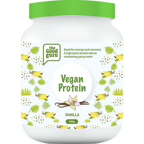 The Good Guru Vegan Protein Powder Blend   Contains Organic Turmeric   Plant Protein Powders   Lactose Free   Dairy Free Shake in Vanilla, Strawberry, Wild Berries & Coconut (Vanilla)