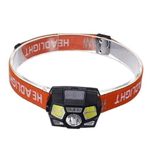 SM SunniMix Linterna Frontal LED Recargable, 5 Modos, linternas Frontales Ajustables a Prueba de Agua con Banda cómoda Ajustable para Adultos y niños - Naranja