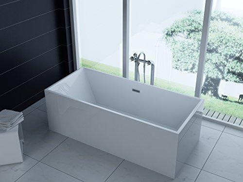 Trade-Line-Partner freistehende Badewanne 170x80 + Acrylwanne inkl. Ablauf und Überlauf (Whirlpool, Dusche, Badezimmer)