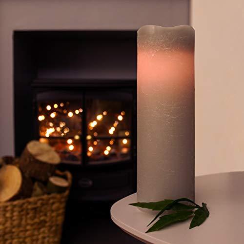 Vela LED de cera real – Control remoto | Velas de iglesia con pilas – iluminación blanca cálida (gris, 23 cm)