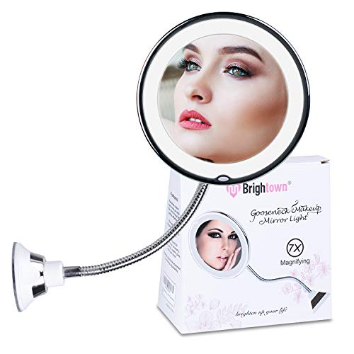 7X Magnifying Mirror with Lights, Flexible Mirror as seen on TV, Powerful Suction Cup, 360° Swivel Flexible Gooseneck Led Lighted Makeup Mirror for Bathroom Shaving Travel Vanity, Cordless