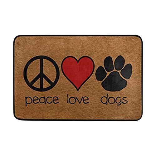 MAZIHAN Felpudo de Entrada Signo de la Paz Amor Corazón Rojo Perros...