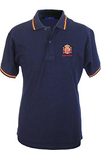 Pi2010 Polo España Hombre, Marino, Escudo Constitucional Bordado en Pecho, 100% algodón, Talla XL