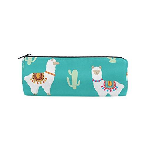 KUWT Pencil Bag Cute Cactus Llama Alpaca, Pencil Case Pen Zipper Bag Pouch Holder Makeup Brush Bag for School Work Office