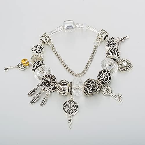JINKEBIN Pulsera Pulsera de Encanto Europeo para el cordón de Amor con joyería Clave de Bricolaje para Mujeres Pulseras de la Cadena de joyería de la Personalidad Femenina B19080 (Length : 18cm)