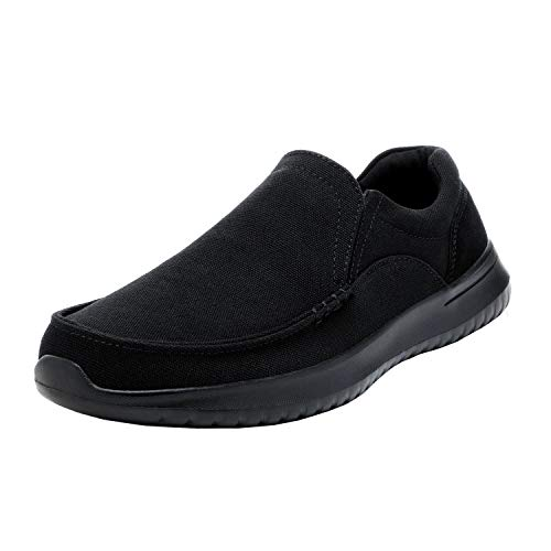 Bruno Marc Men's Slip-On Canvas Sneaker Loafer Lightweight Walking Shoes All Black Dockey Size 7 M US