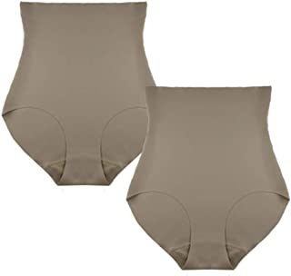 FEM Seamless Shapewear Panties Briefs High Waisted and Laser Cut Finish - 2 Pack