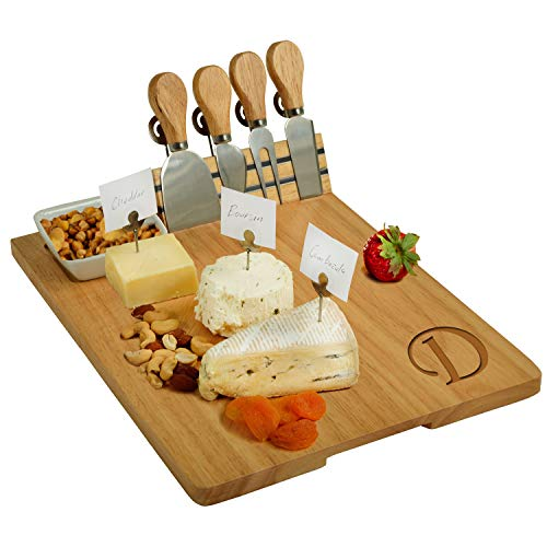 Picnic at Ascot Personalized Monogrammed Engraved Hardwood Cutting Board for Cheese & Charcuterie- includes Knives, Cheese Markers & Ceramic Dish - Designed and quality Checked in the USA