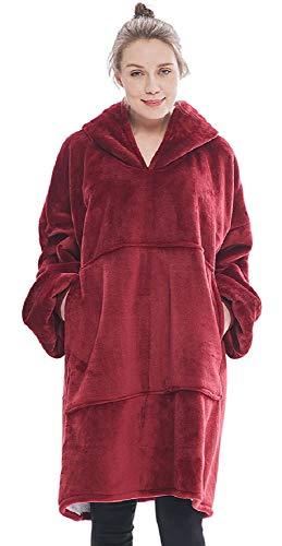 Tuopuda Übergroße Hoodie Sweatshirt Sherpa Decke Fronttasche Pullover mit Kapuze Langarm Kapuzenpullover Riesen-Hoodie Pulli Einheitsgröße passt alle, Männer, Frauen, Jugendliche Warme Langarmshirt