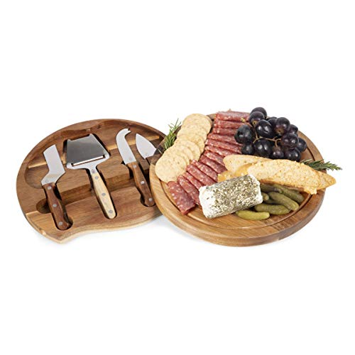 TOSCANA - a Picnic Time Brand Circo Acacia Wood Cheese Board Set with Cheese Tools