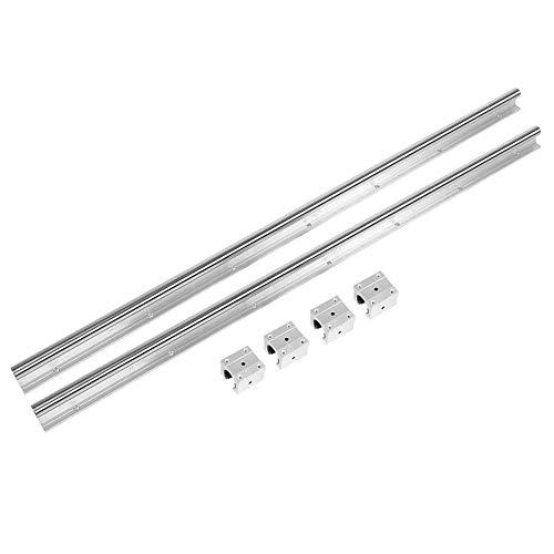 2PCS SBR20-1000mm Linéaire Rail Glissière + 4pcs SBR20UU Baring Blocs de Glissière,Guide de Rail Linéaire pour Imprimante 3D DIY et Machine CNC