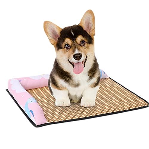 LEPSJGC Cama para Mascotas para Perros Fresca en Verano Casa para Gatos Estera de Paja de Mimbre con Almohada Perro Transpirable y cómodo (Color : C, Size : M Code)