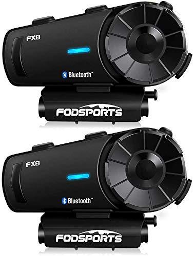 Fodsports FX8 Helm Bluetooth Headset, 8 Fahrer Motorradhelm Intercom mit FM Radio,Siri, Verbinden Sie sich mit Bluetooth Intercom anderer Marken, Bluetooth-Gegensprechanlage für Helmet, Navi und Handy